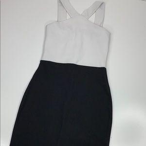 Missguided Color Block Dress White Black Sleeveles